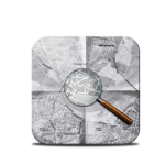Map and Magnifying glass icon